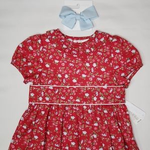 Edgehill Collection Red Floral Dress And Bow